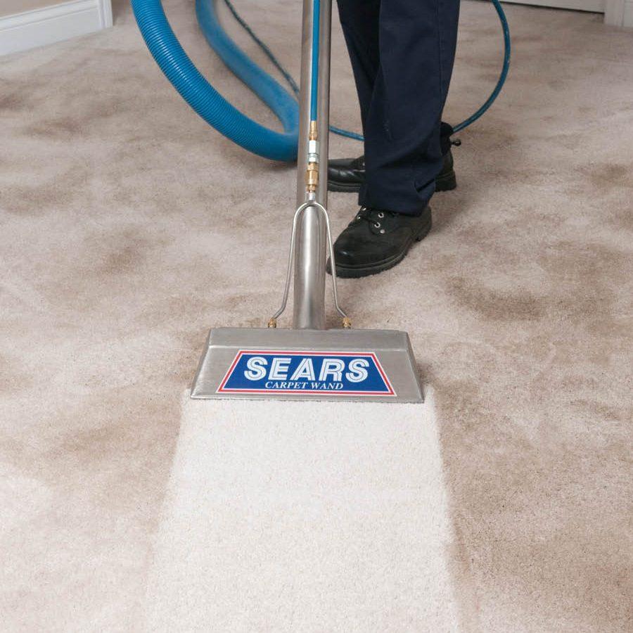 Man cleaning cream carpet
