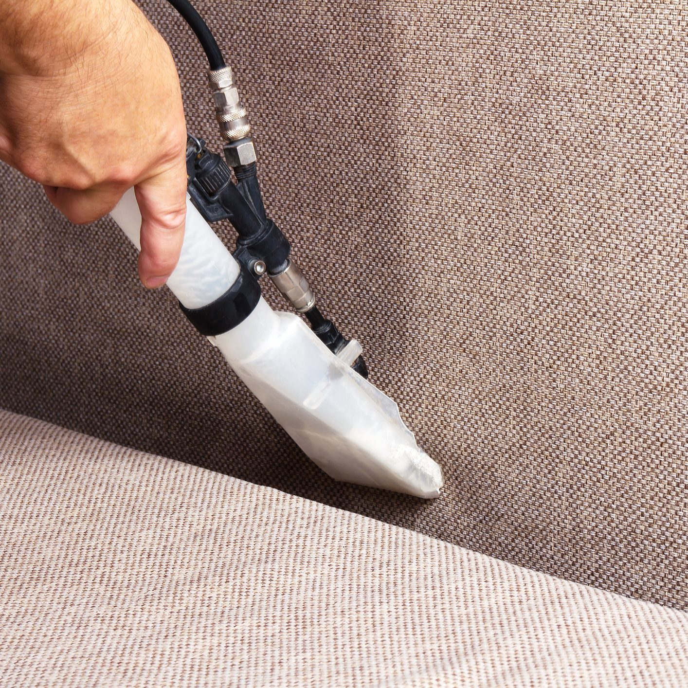 Upholstery cleaning grey fabric